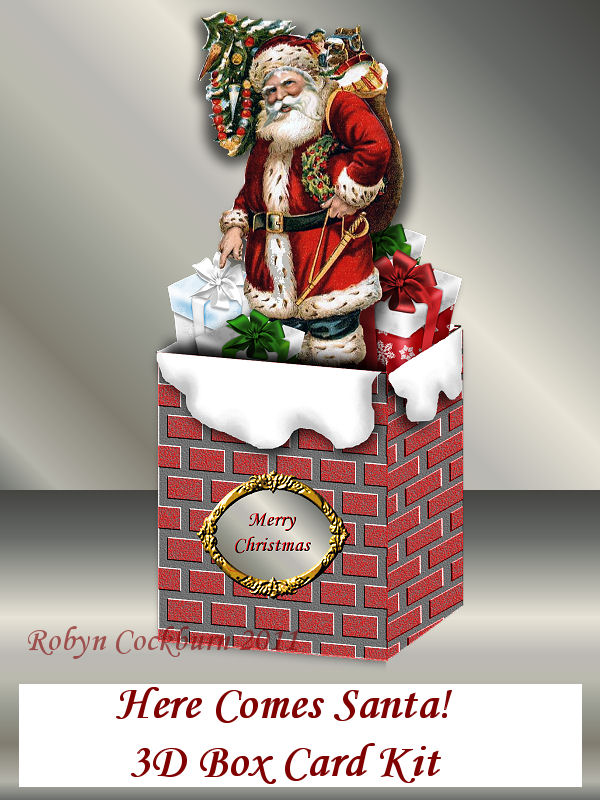 Santa In The Chimney 3D Box Card Kit